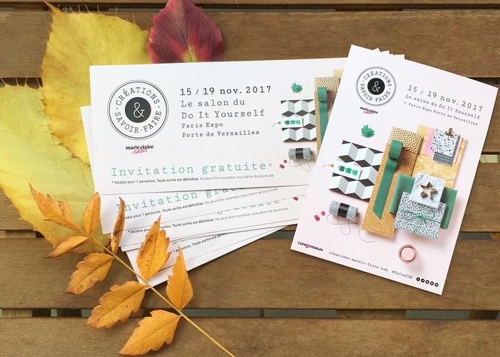 Salon Créations et savoir-faire 2017, invitations à gagner, édition 2016, challenge DIY