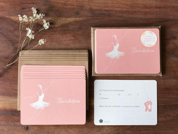 8 cartes invitation rose pour anniversaire thème danse avec illustration danseuse